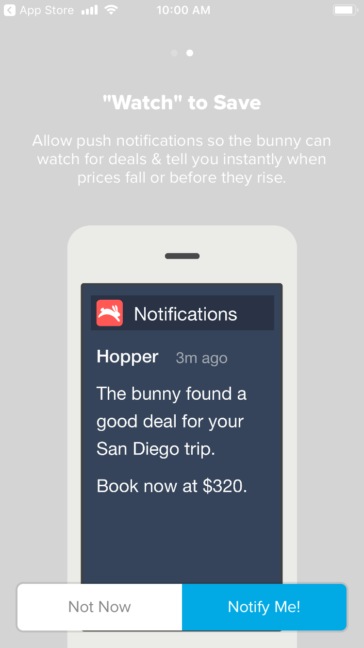 Hopper push notification microcopy