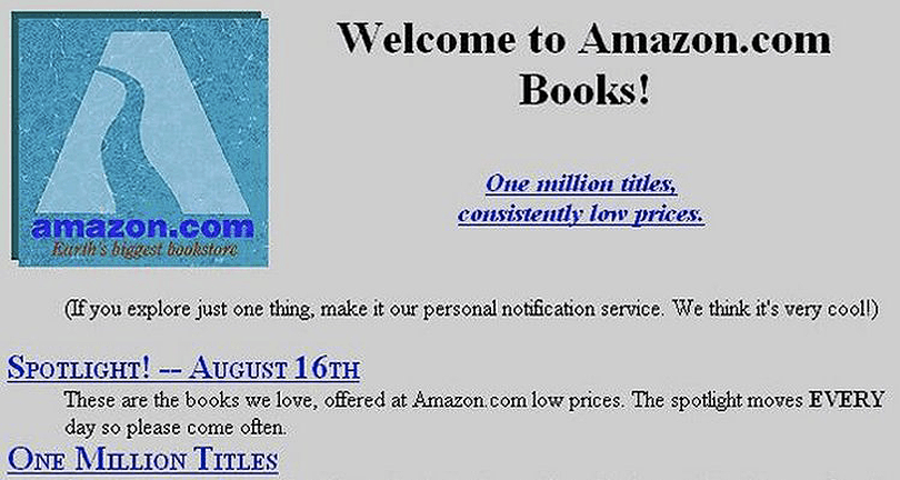 Old Amazon Books Website