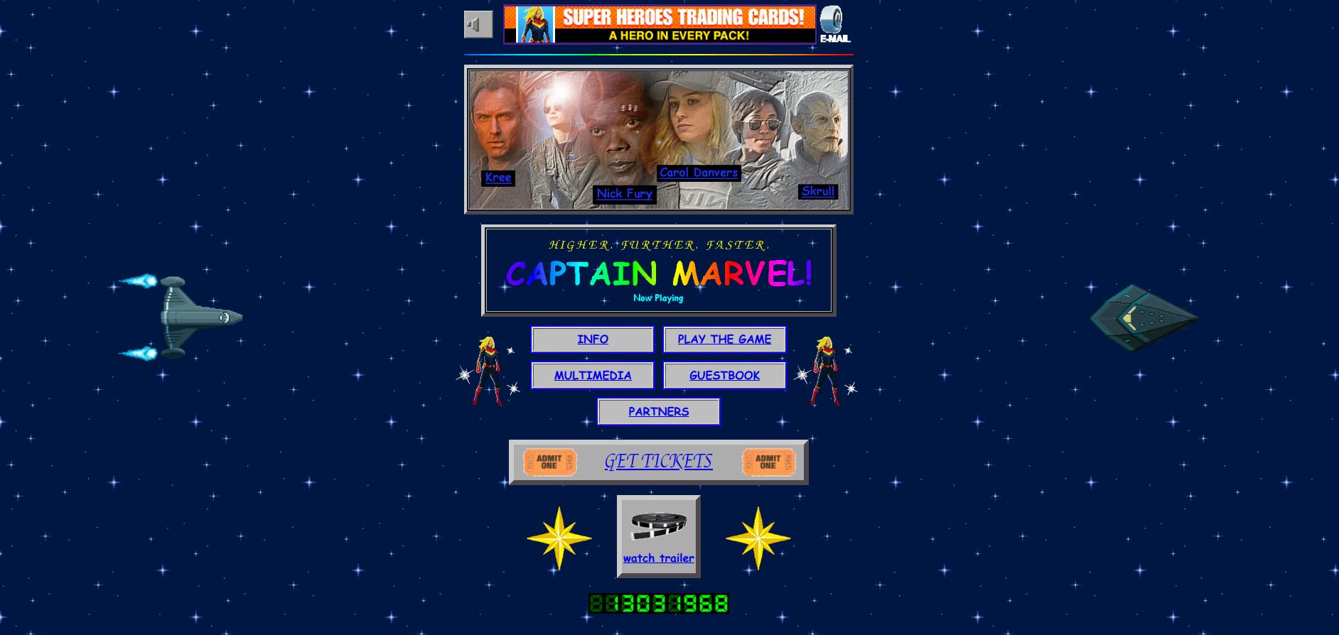 Captain Marvel's 90s landing page