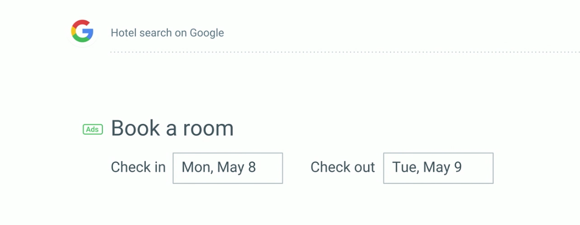 Google hotel search microcopy