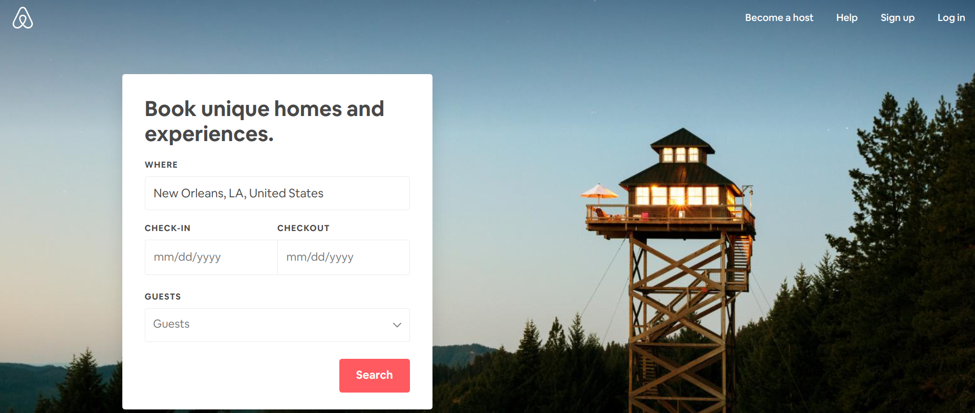 Airbnb homepage UX design