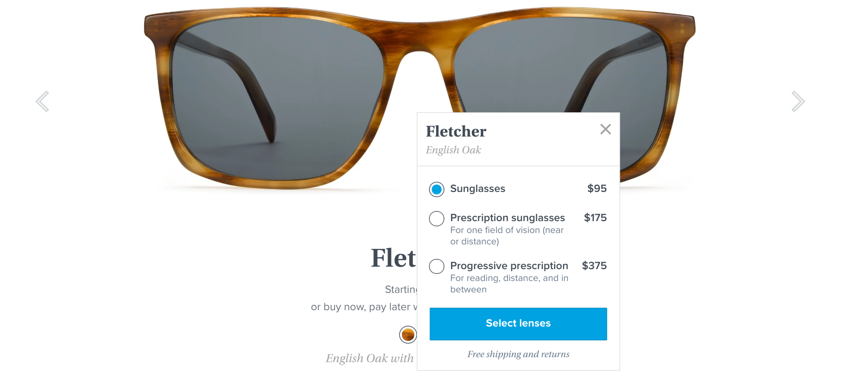 Warby Parker free shipping microcopy