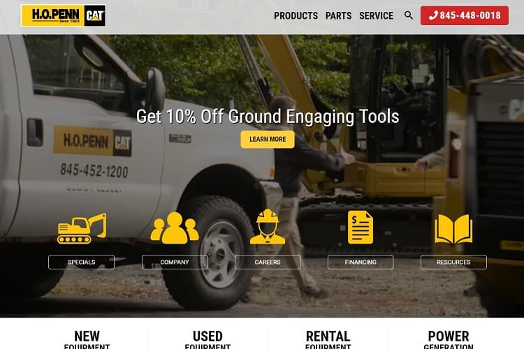 H.O. Penn Machinery's landing page