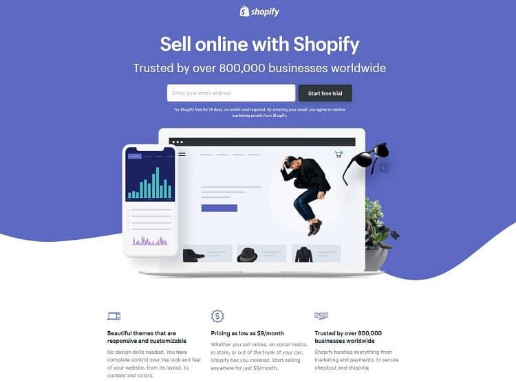 A Shopify landing page