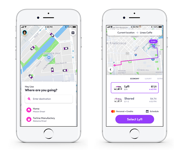 Closeup of Lyft's UX design